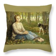 A Shepherdess And Her Flock Throw Pillow