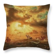 A Shipwreck By The Rocks Throw Pillow
