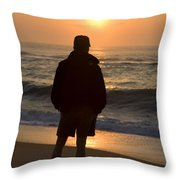 A Silhouetted Figure Enjoys The Ocean Throw Pillow