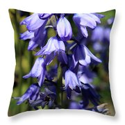 Single Bluebell Throw Pillow