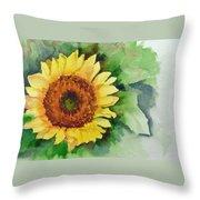 A Single Sunflower Throw Pillow