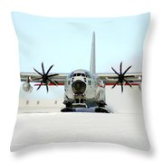 A Ski-equipped Lc-130 Hercules Throw Pillow by Stocktrek Images