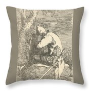 A Sleeping Warrior Seated On A Rock And Leaning On His Shield Throw Pillow