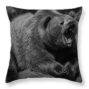 A Slightly Upset Grizzly Bear Throw Pillow