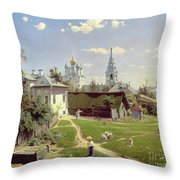 A Small Yard In Moscow Throw Pillow