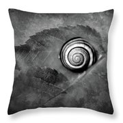 A Snail On A Leaf Throw Pillow