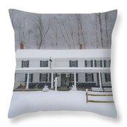 A Snowstorm At Valley Green Inn Throw Pillow