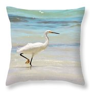 A Snowy Egret (egretta Thula) At Mahoe Throw Pillow by John Edwards