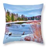 A Snowy Moose River Throw Pillow