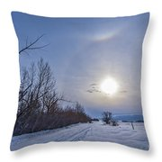 A Solar Halo Around The Sun At The End Throw Pillow