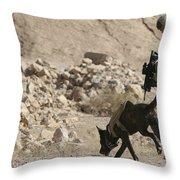 A Soldier And His Dog Search An Area Throw Pillow