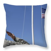 A Soldier Salutes The American Flag Throw Pillow