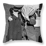A Soldier's Goodby Kiss Throw Pillow