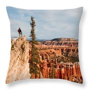A Solitary Hiker Looks Throw Pillow