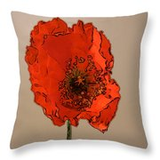 A Solitary Poppy Throw Pillow
