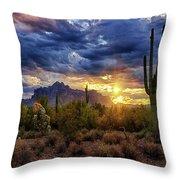 A Sonoran Desert Sunrise - Square Throw Pillow
