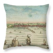 A South East View Of The Great Town Of Boston In New England In America, 1730 Throw Pillow