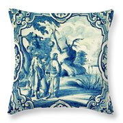 A South-german Faience Stove Tile Second Half 18th Century, By Adam Asar, No 18a Throw Pillow
