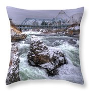 A Spokane Falls Winter Throw Pillow