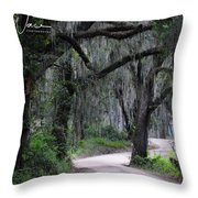 A Spooky Road Throw Pillow