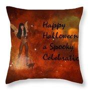 A Spooky, Space Halloween Card Throw Pillow