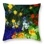 A Spring Garden Medley Throw Pillow