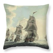 A Squadron Of The Royal Navy Running Down The Channel And An East Indiaman Preparing To Sail Throw Pillow
