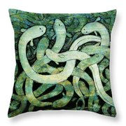A Squirm Of Eels At The Bottom Of The Pond Throw Pillow