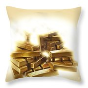 A Stack Of Gold Bullion  Throw Pillow