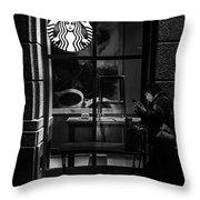 A Starbucks Respite In Downtown San Jose Throw Pillow