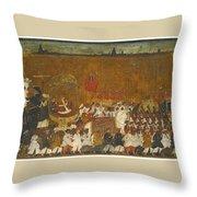 A State Procession Of Raja Tulsaji Throw Pillow