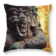 A Statue Of A Intricately Designed Holy Hindu Elephant Ganesha In A Sacred Temple In Bali, Indonesia Throw Pillow