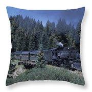 A Steam Engine Chugs Through A Mountain Throw Pillow