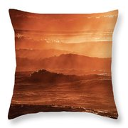 A Steaming Sunrise Over Black Sea  Throw Pillow
