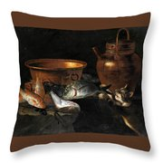 A Still Life Of Fish With Copper Pans And A Cat  Throw Pillow