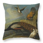 A Still Life With A Peacock, Pigeons And Chickens In A River Landscape Throw Pillow