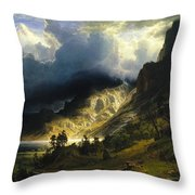 A Storm In The Rocky Mountains Mt. Rosalie, 1866 Throw Pillow