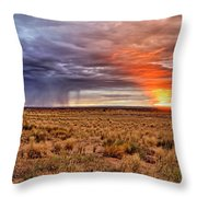 A Stormy New Mexico Sunset - Storm - Landscape Throw Pillow