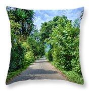 A Street Between Trees Throw Pillow