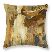 A Street Scene In Cairo Throw Pillow