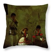 A Street Scene In Sevilla 1870 Throw Pillow