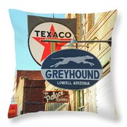 A Street Scene Of Vintage Signs, Lowell, Arizona Throw Pillow