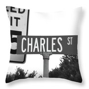Ch - A Street Sign Named Charles Speed Limit 35 Throw Pillow
