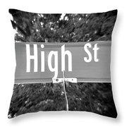Hi - A Street Sign Named High Throw Pillow