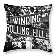Wi - A Street Sign Named Winding Way And Rolling Hill Throw Pillow