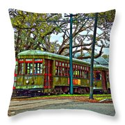 A Streetcar Named St. Charles Throw Pillow