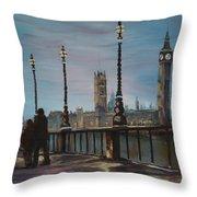 An Evening Stroll Along The Thames  Throw Pillow