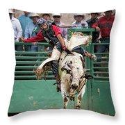 A Strong Bull Ride Throw Pillow