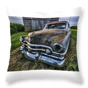 A Stylized Wide Angle Look At An Old Rusty Cadillac By A Cornfield Throw Pillow
