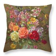 A Summer Floral Arrangement Throw Pillow